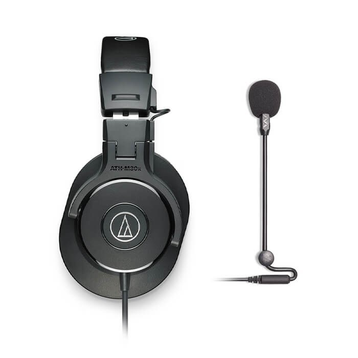 Audio Technica ATH-M30x Black and Anltion Audio Modmic Uni Combo
