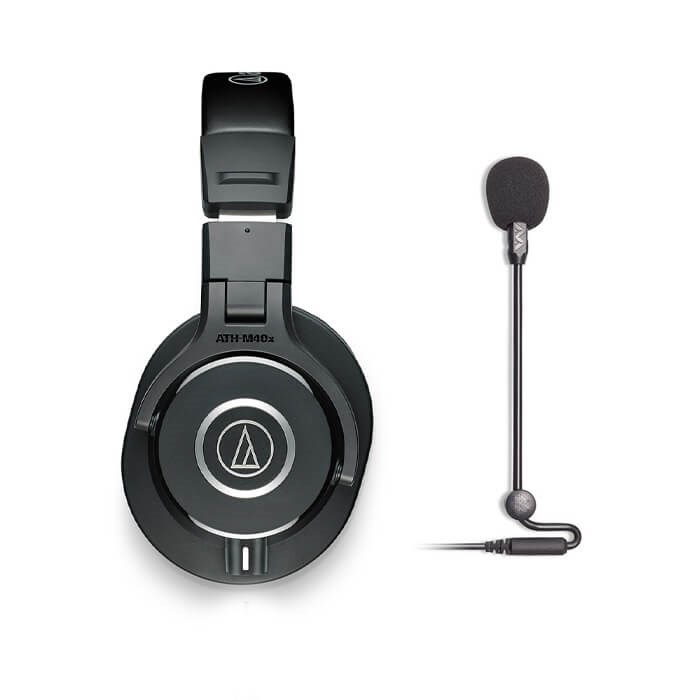 Audio Technica ATH-M40x Black and Antlion Audio Modmic Uni Combo