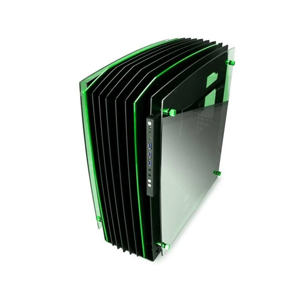 Inwin H-Frame 2.0 Tower Chassis - Black/Green  3