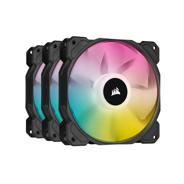 Corsair iCUE SP120 RGB ELITE Performance 120mm PWM Fan Triple Pack with Lighting Node CORE