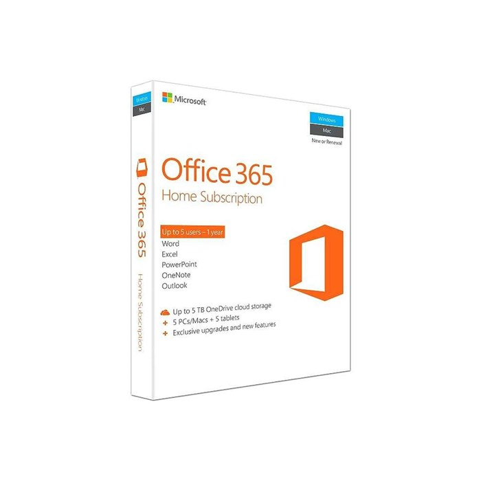 Microsoft Office 365 Home Premium 32Bit/64Bit 6PCs or Macs and 6 Tablets 1 Year Subscription
