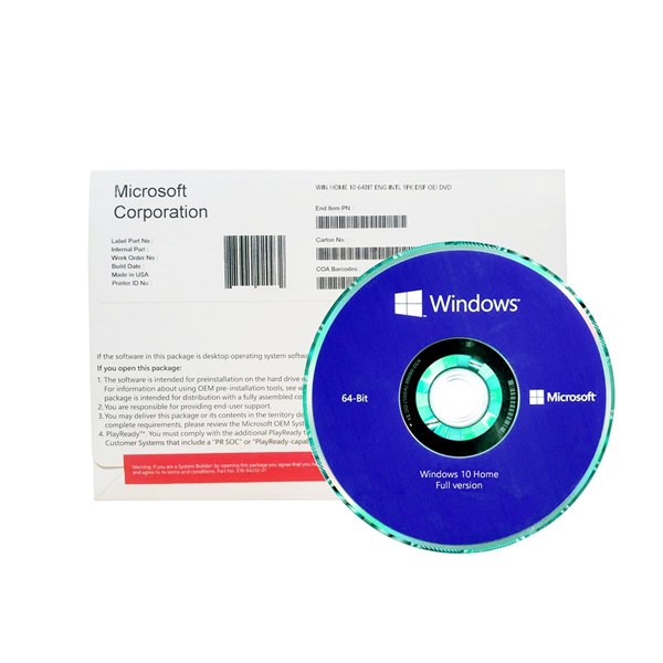 Microsoft Windows 10 Home DVD 64Bit OS