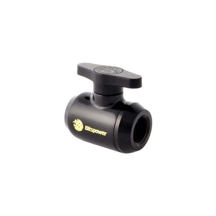 Bitspower Mini Valve With Black Handle - Matte Black/Black