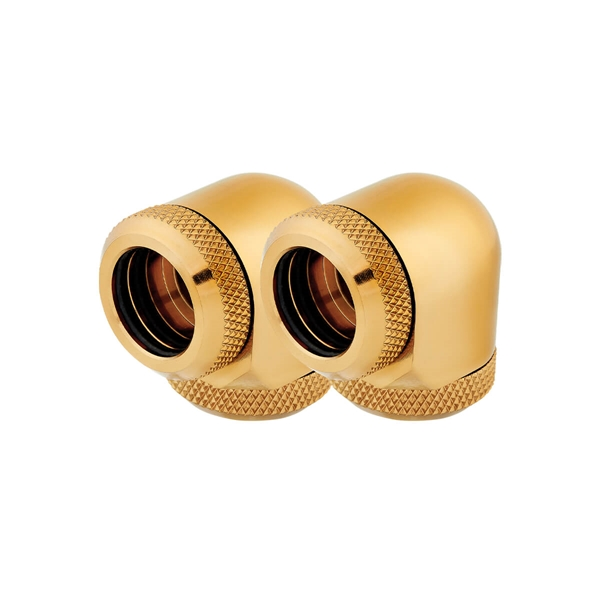 Corsair Hydro X Series XF Hardline 14mm 90° Angled Compression Twin Pack - Gold  1