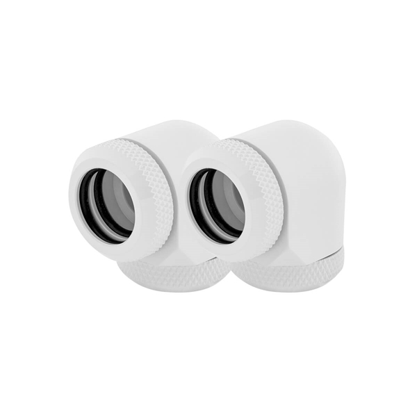 Corsair Hydro X Series XF Hardline 14mm 90° Angled Compression Twin Pack - White  1