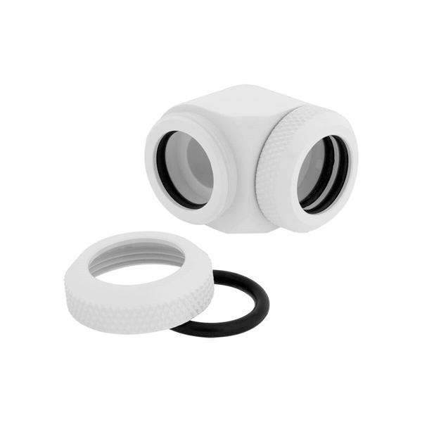 Corsair Hydro X Series XF Hardline 14mm 90° Angled Compression Twin Pack - White  2