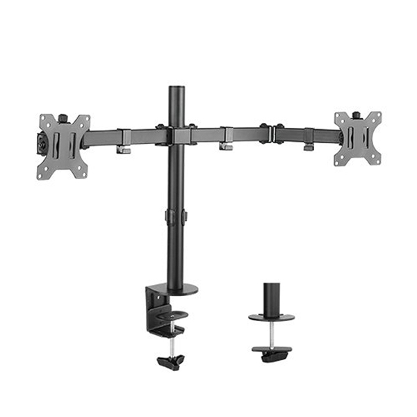 "Brateck LDT12-C024N 13"" - 32"" Economy Dual Monitor Steel Monitor Desk Mount  1"